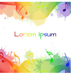 with rainbow musical notes and watercolor splashes vector image