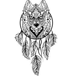 Wolf in ethnic tribal stile with dreamcatcher vector