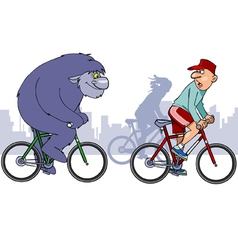 beast overtakes a cyclist on a bike vector image