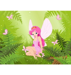 Cute fairy into magic forest vector image