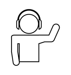 disk jockey silhouette isolated icon design vector image vector image
