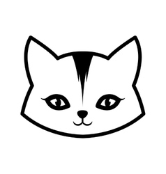 face cat animal domestic furry outline vector image vector image