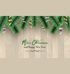 merry christmas and happy new year banner wooden vector image vector image