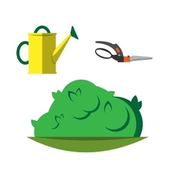 Watering can and garden secateurs isolated vector image vector image