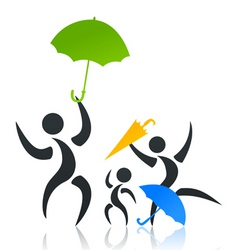 family with the child under an umbrella a vector i vector image