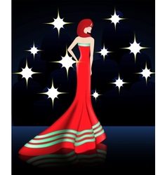 Lady in Elegant Red Long Dress vector image vector image