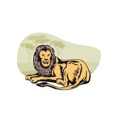 Lion Big Cat Retro vector image