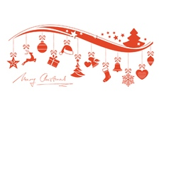 Red wavy border with hanging Christmas vector image vector image
