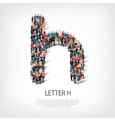 group people shape letter H vector image