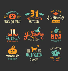 halloween logo templates badges set vector image