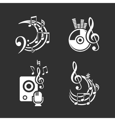 Music design elements and note icons set vector image
