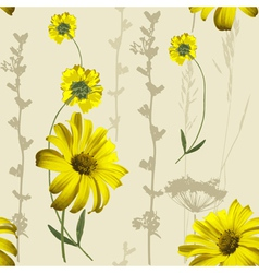 yellow flowers pattern vector image vector image