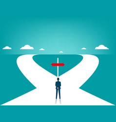 businessman in front of two roads vector image