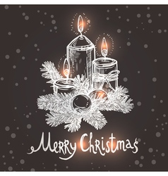 Christmas Card With Sketch Candles vector image vector image