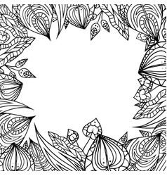 frame of black and white doodle leaves with vector image