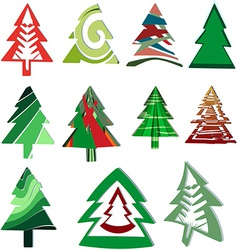 Icons Christmas trees vector image vector image