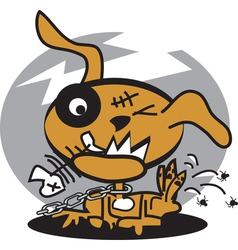 Monster dog with fishbone vector image vector image