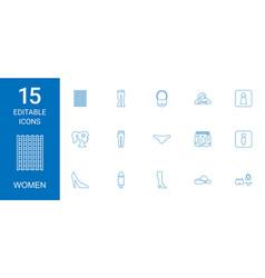 15 women icons vector