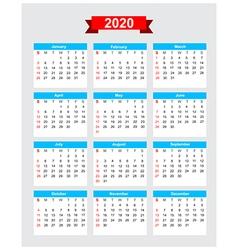 2020 calendar week start sunday vector image