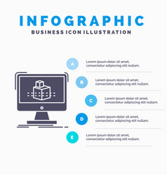 3d cube dimensional modelling sketch infographics vector image