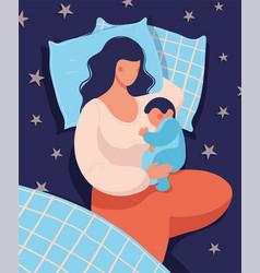 a woman sleeps with her newborn baat night in vector image