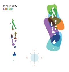 Abstract color map of Maldives vector image