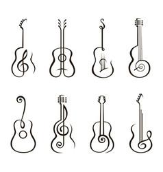 Acoustic guitar set vector