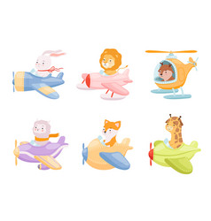 animals pilots cute funny characters in airplanes vector image