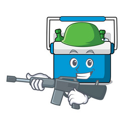 Army freezer bag character cartoon vector