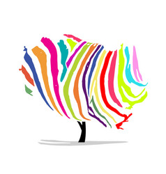 art tree colorful zebra for your design vector image