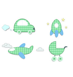 baby plaid green stickers of car rocket stroller vector image