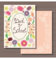 Back to school cards on wooden background vector