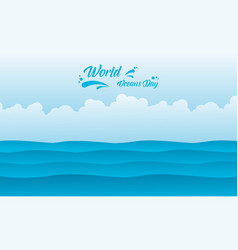 Background ocean day flat vector