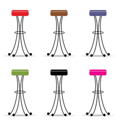 Bar stools set furniture ilustration vector