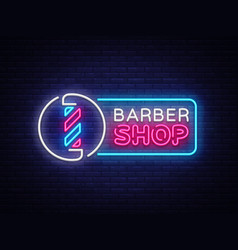 barber shop neon sign barber shop design vector image
