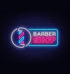 Barber shop neon sign shop design vector