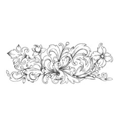 baroque ornament border engraved filigree vector image