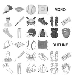 Baseball and attributes monochrom icons in set vector