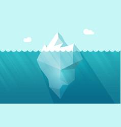 Big iceberg floating on water waves vector