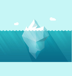 Big iceberg floating on water waves with vector