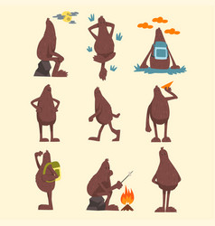 bigfoot cartoon character set funny mythical vector image