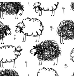 Black and white sheeps on meadow seamless pattern vector