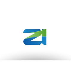 Blue green zi z i alphabet letter logo vector