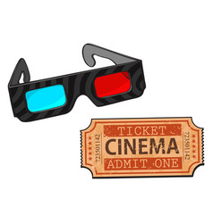 blue-red stereoscopic 3d glasses and cinema vector image