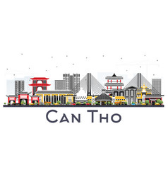 Can tho vietnam city skyline with gray buildings vector
