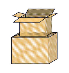 Cardboard box stacked in colored crayon silhouette vector