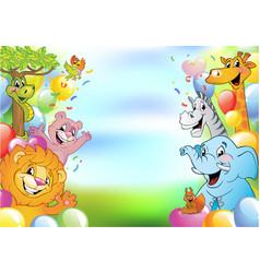 cartoon cheerful animals holiday background vector image