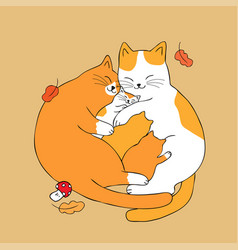 Cartoon cute parents hug baby cat vector