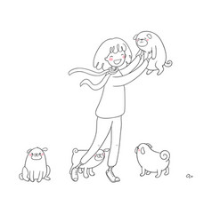Cartoon woman on a walk with puppies beautiful vector