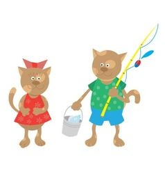 cat comes back from fishing vector image
